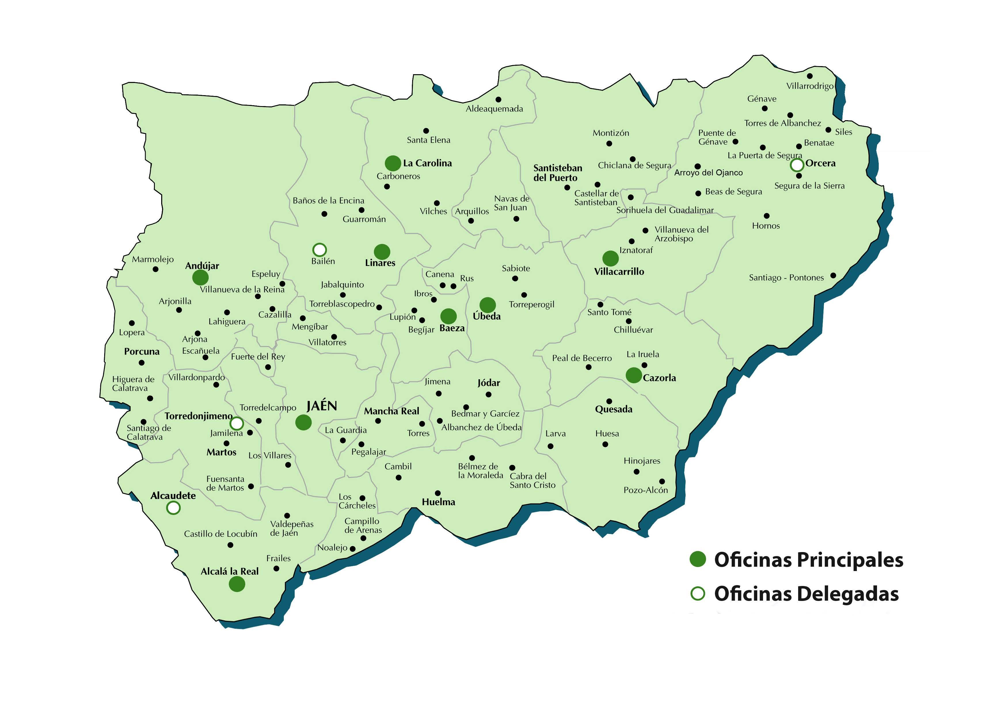 Diputacion De Jaen Mapa De Oficinas De Recaudacion